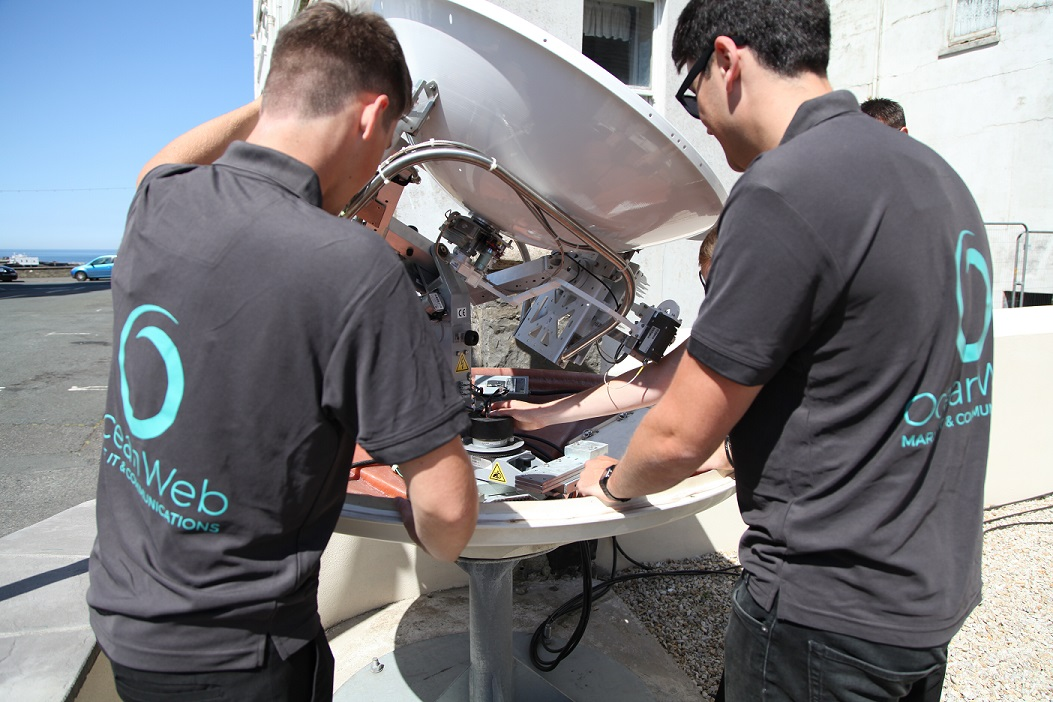 OceanWeb engineers installing VSAT on board superyacht